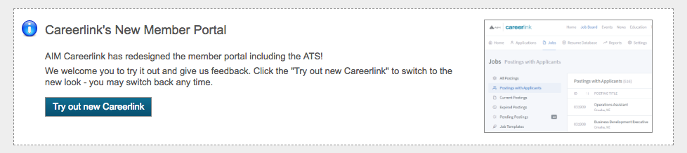 New Careerlink member portal